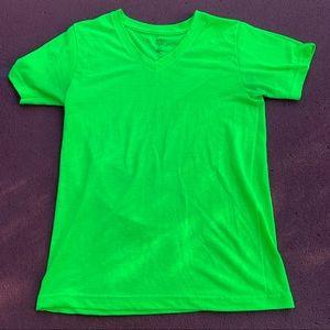 Bright neon green v neck shirt. super vibrant!